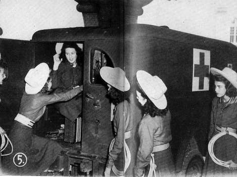 Lassos board a Red Cross ambulance for a performance at Brooke General Hospital (now San Antonio Military Medical Center), 1944. Photo: Courtesy Photo,      Lasso Alumni Association