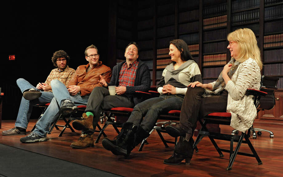 "The creative team from left, Zach Dietz, musical director, Tommy Newman, composer, Gordon Greenberg, director, Michele Lynch, choreographer, and Maggie Mancinelli-Cahill, producing artistic director of Cap Rep talk to some of the performers during First Hour about the show ""Single Girls"" which is a new musical being developed at Capital Rep on Tuesday Feb. 5, 2013 in Albany, N.Y. (Lori Van Buren / Times Union) Photo: Lori Van Buren"