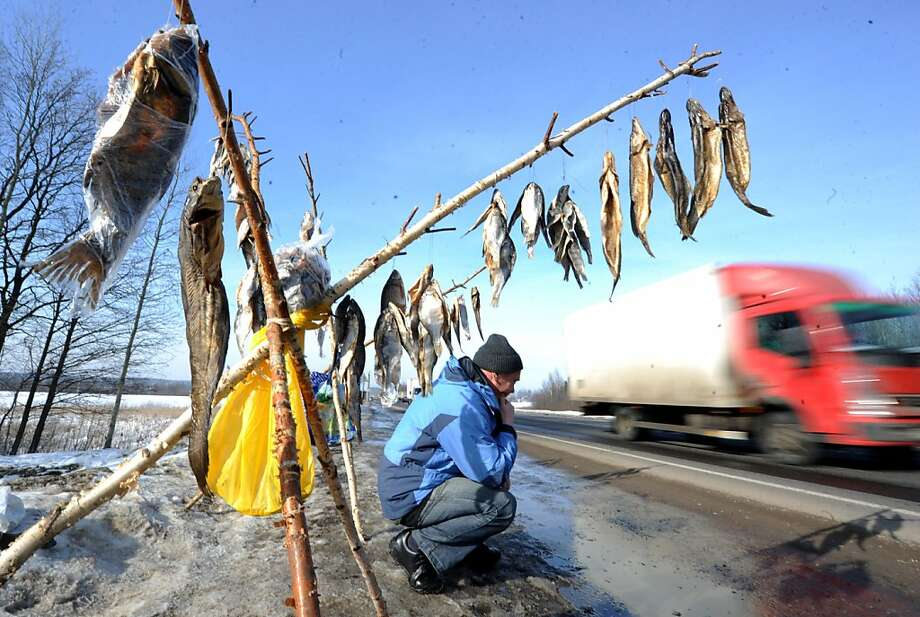 If you happen to be drivingthe highway near the village of Lapichi, about 60 miles south of Minsk, be sure to stop at the dried fish tripods. You won't find a better desiccated carp in Belarus. Photo: Viktor Drachev, AFP/Getty Images