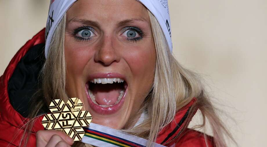 Norwegians are so good at concealing their emotions:But how do you really feel about winning gold in the women's 10k Free at the Nordic Ski Worlds, Therese Johaug? (Val di Fiemme, Italy.) Photo: Matthias Schrader, Associated Press
