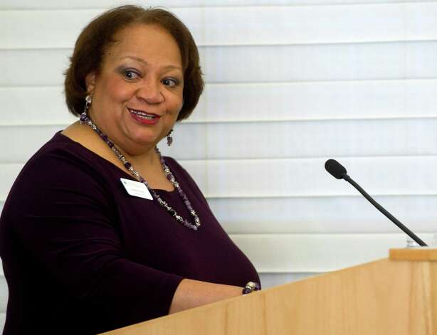 "Moderator Juanita James speaks during ""Women Inspiring Women - Philanthropy Driving Results,"" a panel discussion held by UBS Wealth Management Americas and the Fairfield County Community Foundation at UBS on Wednesday, February 27, 2013. Photo: Lindsay Perry / Stamford Advocate"