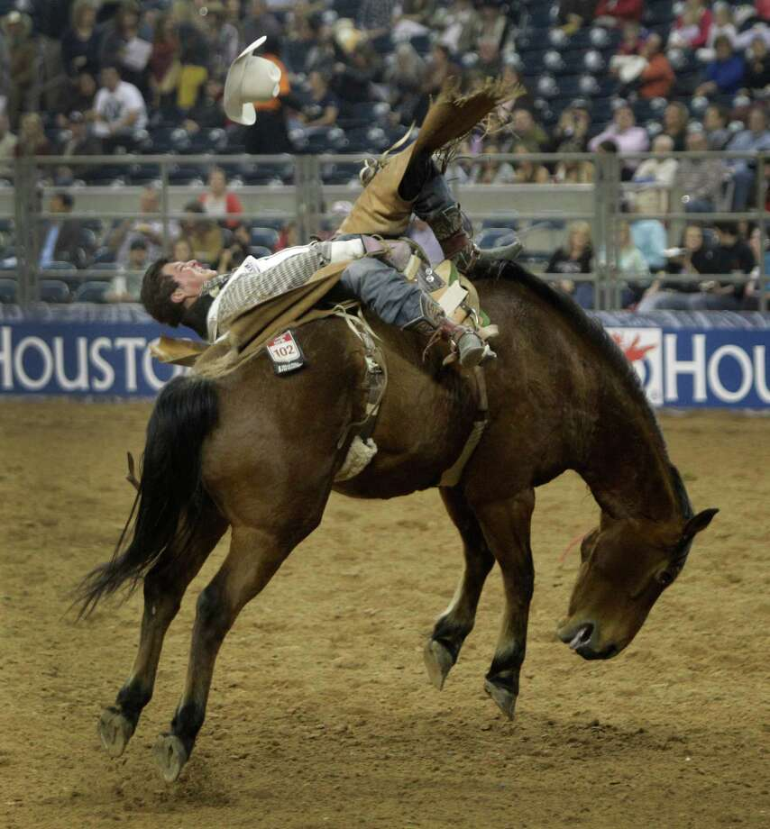 Bareback rider Richmond Champion of The Woodlands  rides a bronc named Cool Water during RodeoHouston round two of Super Series I. He placed second with a 81.5 score. Photo: Melissa Phillip, Houston Chronicle / © 2013  Houston Chronicle