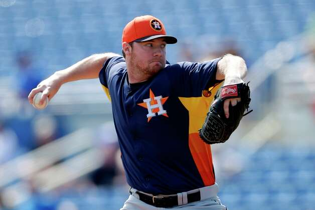 Astros' Alex White pitches against the Toronto Blue Jaysin the first inning on Wednesday in Dunedin, Fla. Photo: Matt Slocum