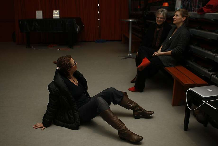 """ODC dance makers KT Nelson (left) and Brenda Way talk with guest choreographer Kate Weare after a rehearsal of """"Triangulating Euclid,"""" the collaborative effort that will open the company's """"Dance Downtown"""" season. Photo: Liz Hafalia, The Chronicle"""