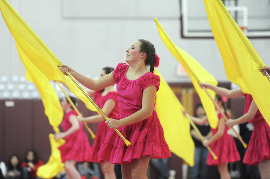 Jill Rodgers performs with the Bethel High School junior varsity winter guard team at the Bethel Winterguard Home Show at Bethel High School in Bethel, Conn. Saturday, Feb. 23, 2013. Photo: Tyler Sizemore / The News-Times