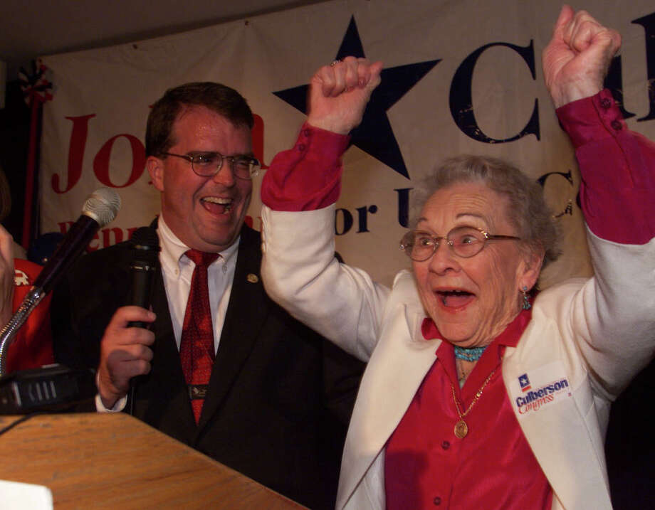 04/11/2000 (D. Fahleson)  John Culberson, Republican candidate for the westside's 7th Congressional District, receives a surprise visit from his 90-year-old grandmother Genevieve Williams of Albuquerque, New Mexico at Mesa Grill, 11135 Katy Freeway.  HOUCHRON CAPTION (04/12/2000):  A jubilant Genevieve Williams celebrates her grandson's runoff victory Tuesday night at the Mesa Grill.  John Culberson, left, defeated Peter Wareing in the GOP race for the 7th Congressional District. Photo: D. Fahleson, Houston Chronicle / Houston Chronicle