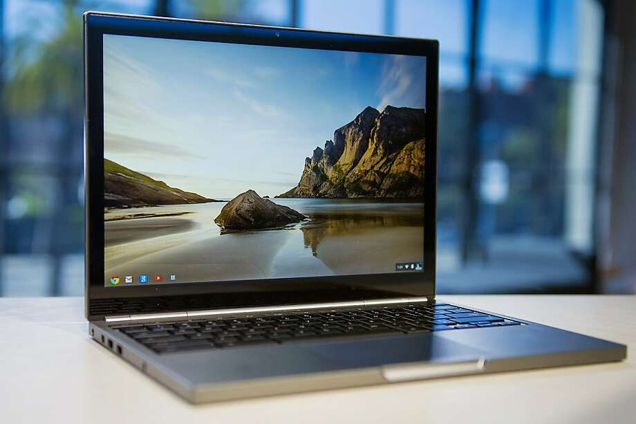 A new Google Inc. Chromebook Pixel laptop is displayed for a photograph during a launch event in San Francisco, California, U.S., on Thursday, Feb. 21, 2013. Google Inc., owner of the world's most popular search engine, debuted a touchscreen version of the Chromebook laptop, stepping up its challenge to Microsoft Corp. and Apple Inc. in hardware. Photographer: David Paul Morris/Bloomberg Photo: David Paul Morris, Bloomberg