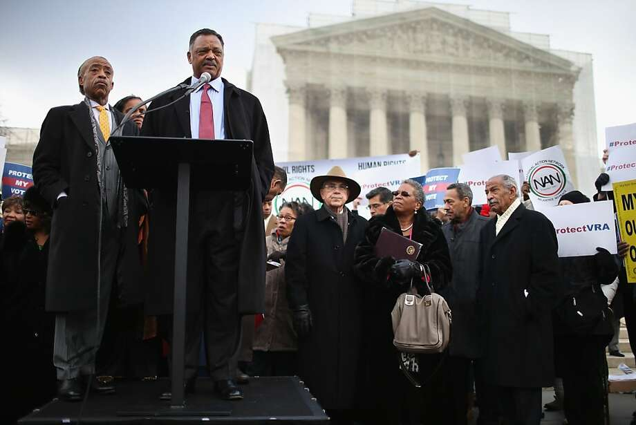 WASHINGTON, DC - FEBRUARY 27:  Rev. Jesse Jackson and Rev. Al Sharpton (L) deliver remarks during a rally on the steps of the U.S. Supreme Court February 27, 2013 in Washington, DC. Leaders from Congress joined civil rights icons to rally as the court prepared to hear oral arguments in Shelby County v. Holder, a legal challenge to Section 5 of the Voting Rights Act. (Photo by Chip Somodevilla/Getty Images)  *** BESTPIX *** Photo: Chip Somodevilla, Getty Images