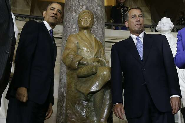 The sculptors received praise from President Obama and House Speaker John Boehner. Photo: Charles Dharapak, Associated Press