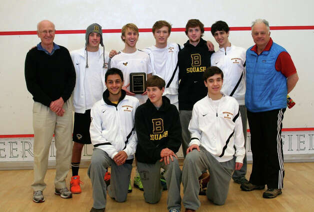 The Brunswick School squash team, top row, left to right:  Coach Jim Stephens, Chris Hart, co-captain Alex Baldock, co-captain Benton Turner, Hayes Murphy, Jarett Odrich, assistant coach George Boynton. Bottom Row, left to right:  Yousef Hindy, John Fitzgerald and David Yacobucci. Photo: Contributed Photo