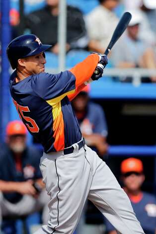 Astros 10, Blue Jays 1Astros center fielder George Springer follows through on his three-run home run off Toronto Blue Jays pitcher Jeremy Jeffress in the fourth inning on Wednesday in Dunedin, Fla. Photo: Matt Slocum