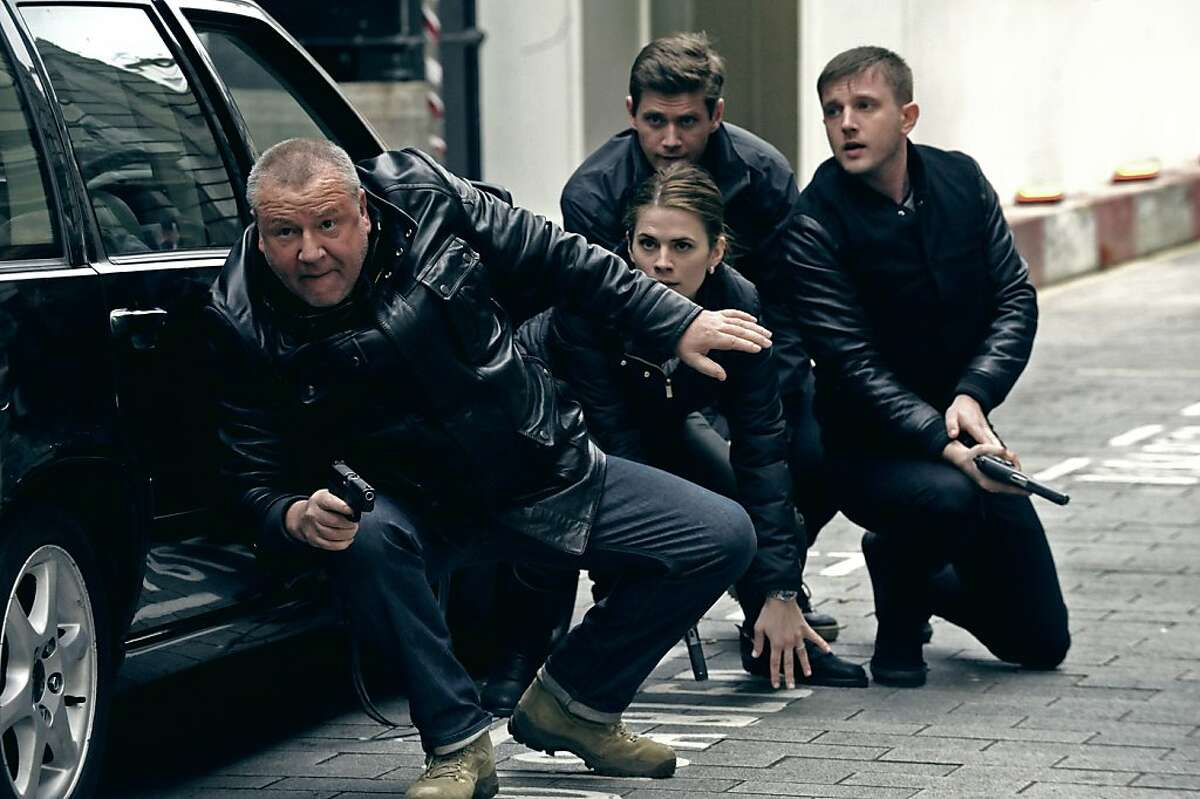 """Ray Winstone (left) stars as """"Jack Regan"""" Hayley Atwell (center/left) stars as """"Nancy Lewis"""" Allen Leech (back/left) stars as """"Simon Ellis"""" and Ben Drew (back/right) stars as """"George Carter"""" in the upcoming release of Entertainment One's THE SWEENEY."""