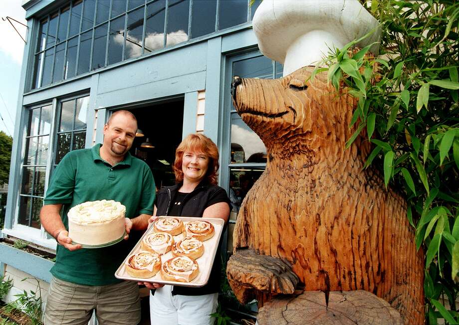 The Honey Bear was also known for its bear statue, which was stolen in 1998. The business is now in the food court outside Third Place Books in Lake Forest Park. Photo: DAN DELONG / Seattle Post--Intelligencer