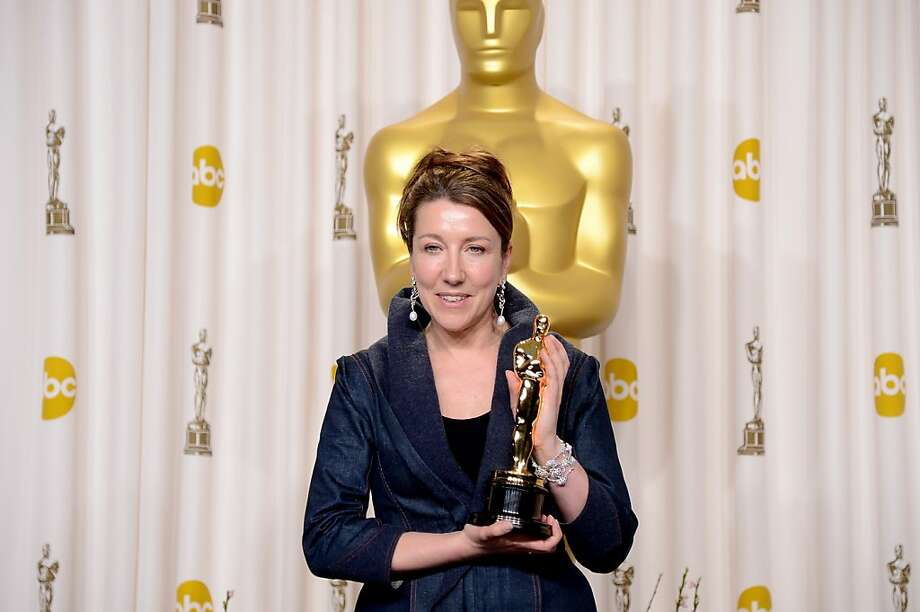 "Jacqueline Durran with her Oscar for ""Anna Karenina."" Photo: Jason Merritt, Getty Images"