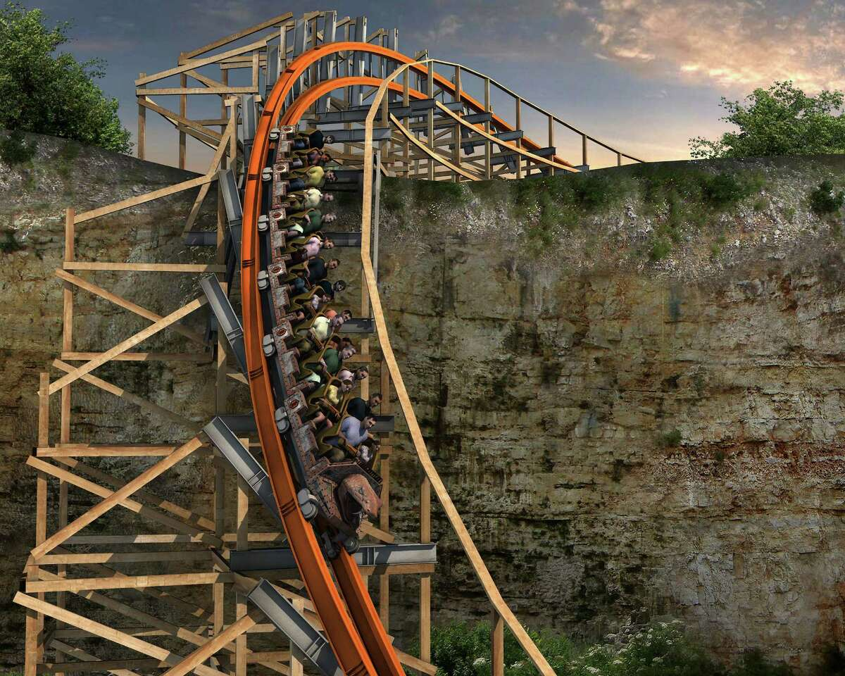 Artist's rendering of what the Iron Rattler at Six Flags Fiesta Texas will look like once the modern track and rails have been added to the wooden structure of the original Rattler.