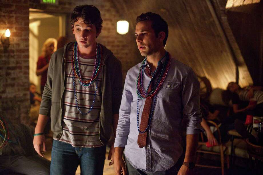 """Miles Teller (left) and Skylar Astin star in """"21 and Over."""" The college students convince a friend to go out for his 21st birthday, the day before his medical-school interview. Photo: Relativity Media"""