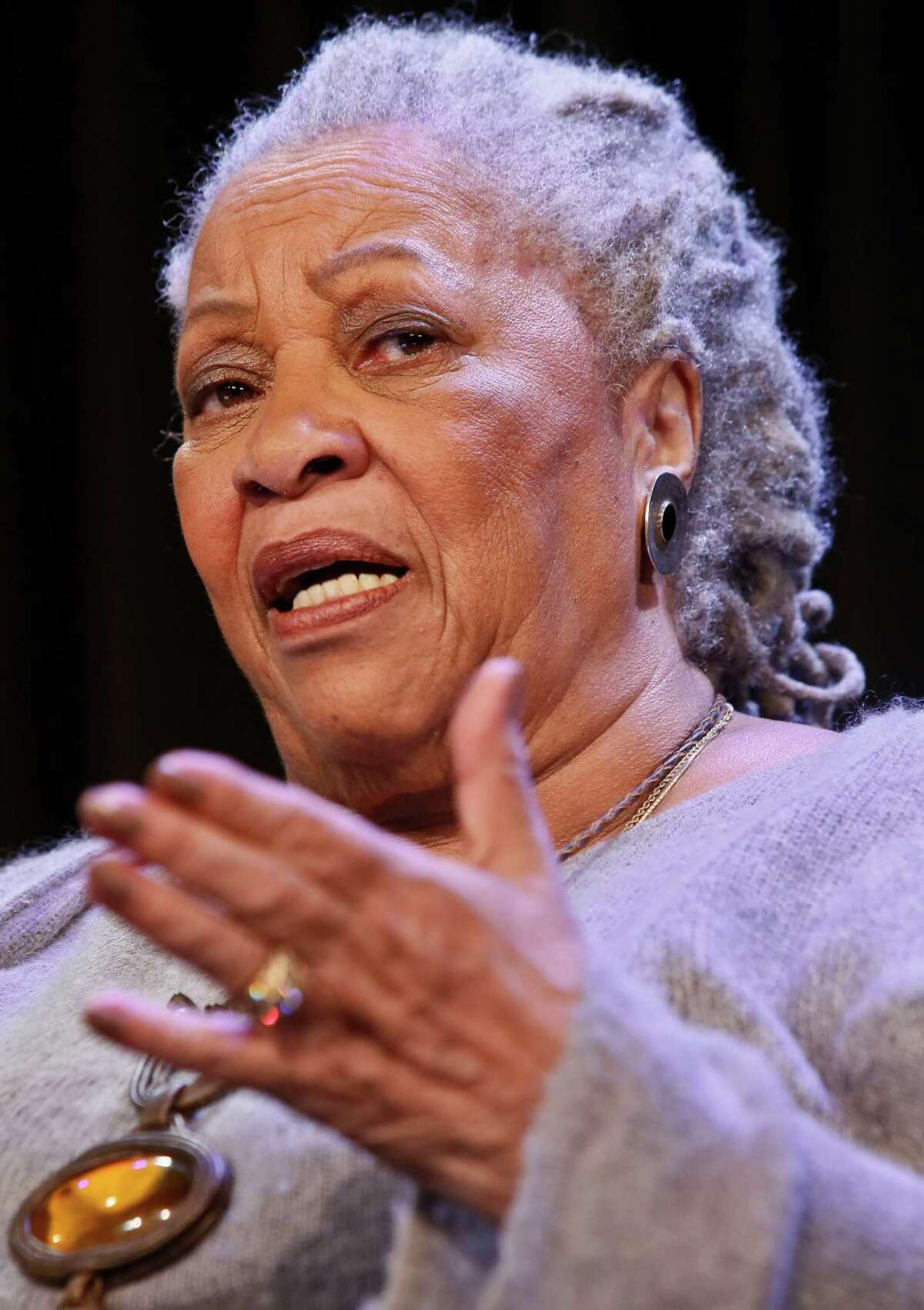 Author Toni Morrison speaks during an interview about her latest book