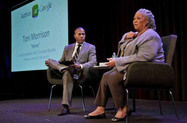 "Author Toni Morrison, right, speaks during an interview about her latest book ""Home,"" with host Torrence Boone during Google's online series, ""Authors At Google,"" on Wednesday, Feb. 27, 2013 in New York. (AP Photo/Bebeto Matthews) Photo: Bebeto Matthews"