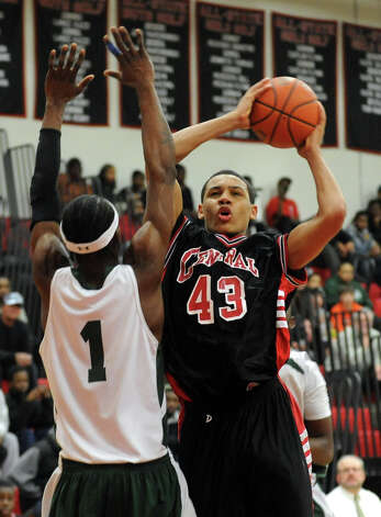 Central's #43 Marcus Blackwell looks for two points, during FCIAC Boys' Basketball Semi-final action in Fairfield, Conn. on Tuesday February 28, 2012. Photo: Christian Abraham / Connecticut Post