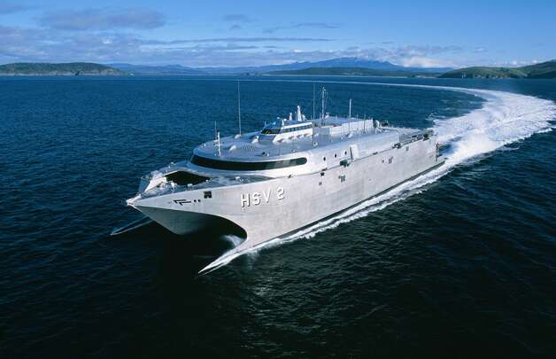 "HSV 2 Swift is a high-speed vessel that the U.S. Military Sealift Command charters for its Prepositioning Program, which ""strategically places military equipment and supplies aboard ships located in key ocean areas to ensure rapid availability during a major theater war, a humanitarian operation or other contingency."" Photo: Military Sealift Command"