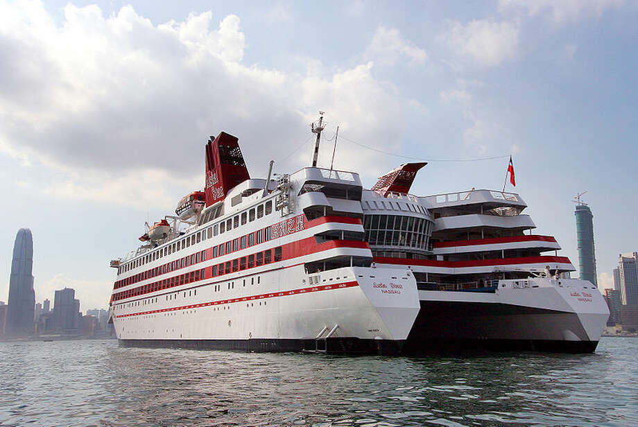 The China Star, formerly known as the Radisson Diamond, is reportedly the world's largest twin-hulled cruise ship. It is a Small Waterplane Area Twin Hull (SWATH) ship, which is notable for a thin hull cross section at the waterline, expanding again below the waves. Photo: Asia Cruises/Wikimedia Commons