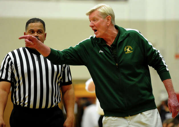 Trinity Catholic Head Coach Mike Walsh, during FCIAC boys basketball semifinals action against Wilton in Fairfield, Conn. on Tuesday February 26, 2013. Photo: Christian Abraham / Connecticut Post