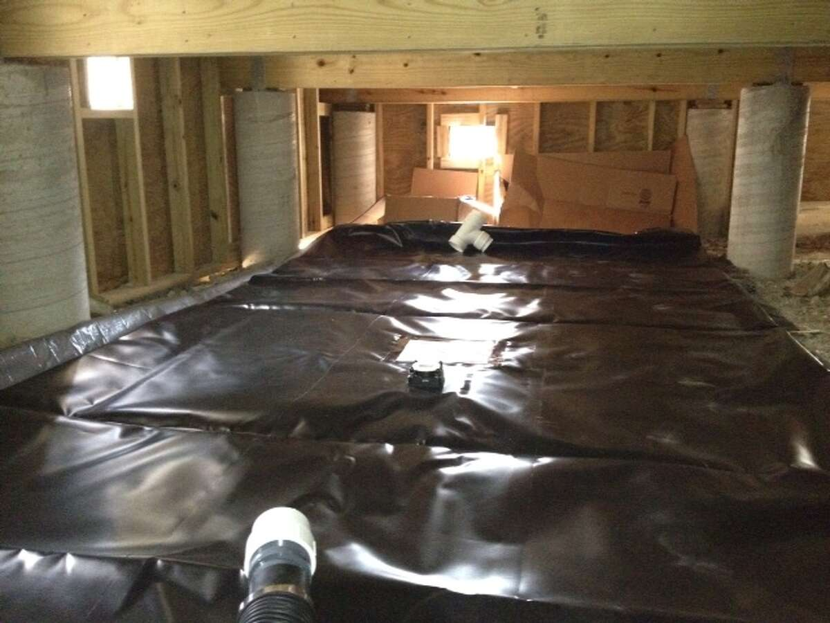 Water can be collected with a rain pillow, which can be placed in a home's crawl space, under a deck or porch.
