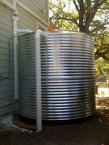 A 2,500-gallon tank stores rainwater for landscape irrigation. Photo: Courtesy One Texas Water