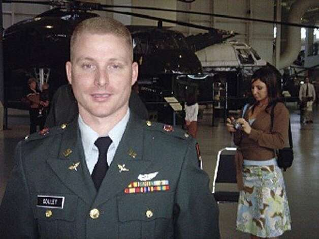 Jeremy Goulet is seen in a 2005 photo in front of a Blackhawk helicopter. Goulet allegedly killed two police officers in Santa Cruz on February 26, 2013. Photo: Courtesy The Antelope Valley Pre