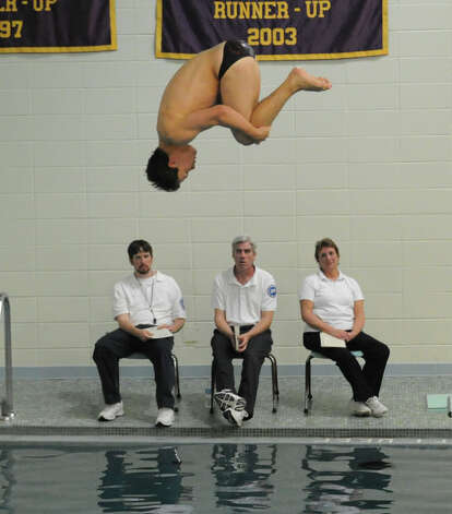 Andrew Bologna of Greenwich High School during the FCIAC Diving finals at Westhill High School, Wednesday, Feb. 27, 2013. Photo: Bob Luckey / Greenwich Time