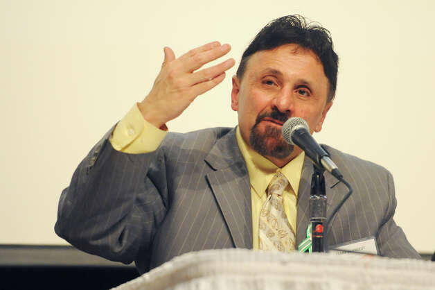Frank DeAngelis speaks at the United Way Community Forum, Recovery and Resilience after the Sandy Hook Tragedy, at Ives Concert Hall on the Western Connecticut State University campus in Danbury, Conn. Wednesday, Feb. 27, 2013.  DeAngelis is principal of Columbine High School and spoke about the Columbine massacre and how he dealt with issues after the shooting.  Other speakers included Chaplain Greg Young, chaplain and trainer for the FBI who responded to the 2012 Sikh temple shooting; Mary Fletchet, founder of VOICES of September 11th; and Jamie M. Howard, Ph.D., clinical psychologist at Child Mind Institute. Photo: Tyler Sizemore / The News-Times