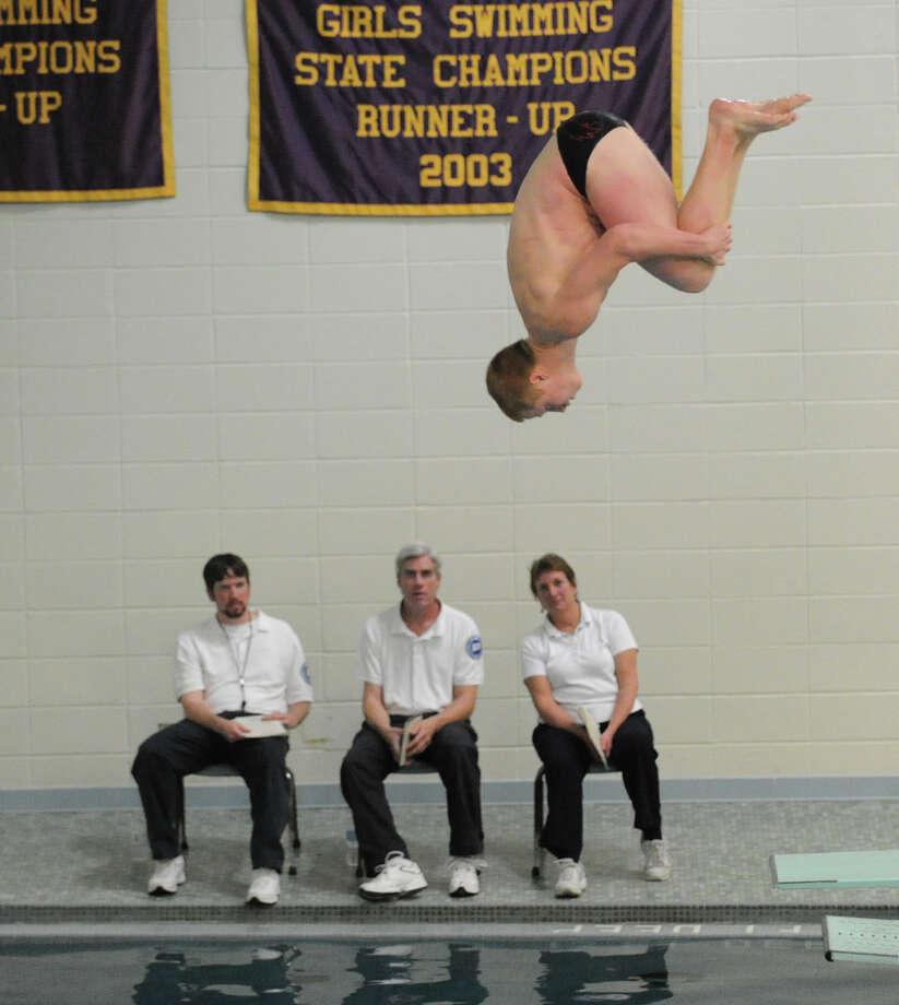 Jeff Aselin of Greenwich High School during the FCIAC Diving finals at Westhill High School, Wednesday, Feb. 27, 2013. Photo: Bob Luckey / Greenwich Time