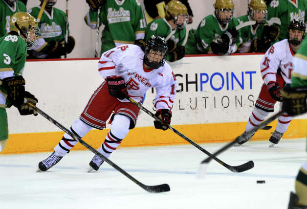 Fairfield Prep's #11 Dean Lockery, during SCC boys hockey playoff championship action against Notre Dame of West Haven at High Point Solutions Arena at Quinnipiac University in Hamden, Conn. on Wednesday February 27, 2013. Photo: Christian Abraham / Connecticut Post