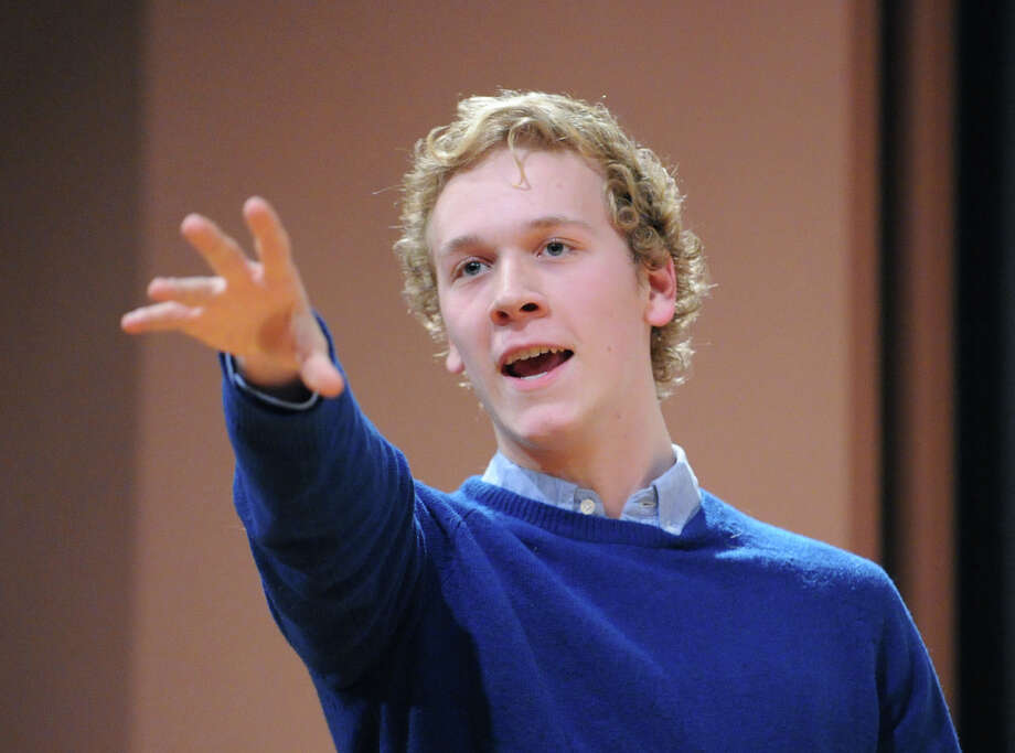 ACES Educational Center for the Arts student Henry Ayres-Brown performs during the English-Speaking Union's 29th annual Shakespeare Competition for high school students at Greenwich Library, Wednesday, Feb. 27, 2013. Ayres-Brown won the competition. Photo: Bob Luckey / Greenwich Time