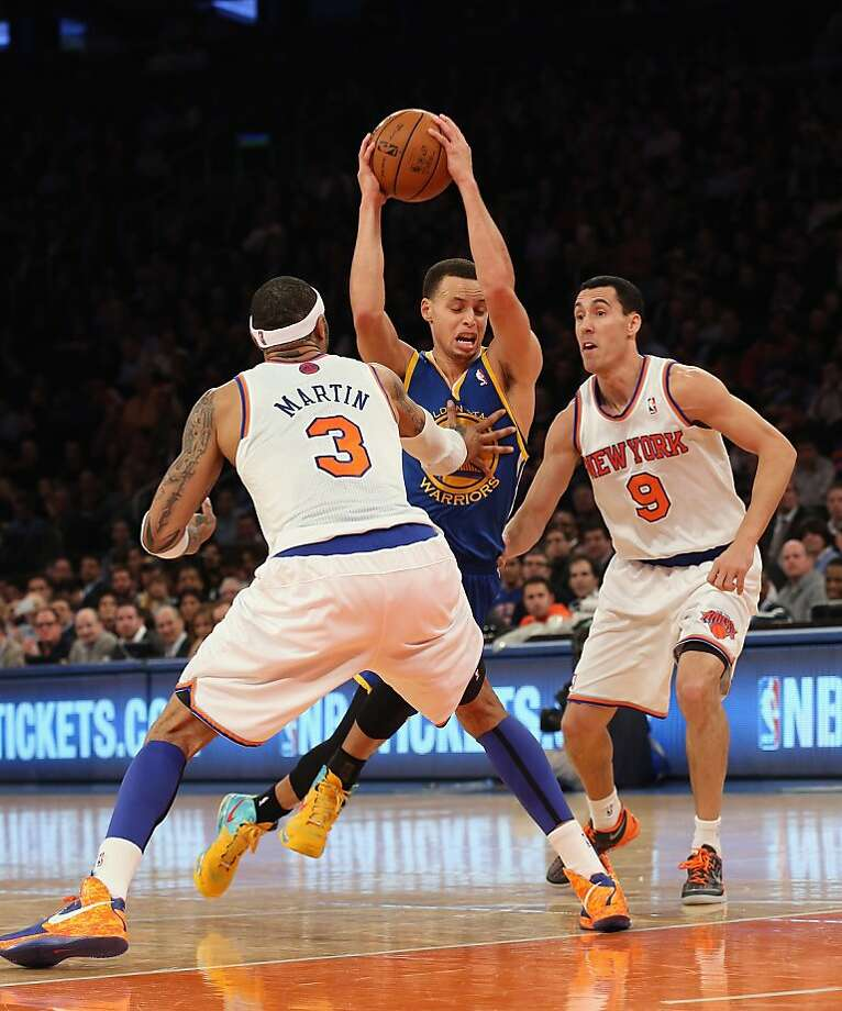 NEW YORK, NY - FEBRUARY 27: Stephen Curry #30 of the Golden State Warriors goes up and scores two points against Kenyon Martin #3 and Pablo Prigioni #9 of the New York Knicks at Madison Square Garden on February 27, 2013 in New York City. NOTE TO USER: User expressly acknowledges and agrees that, by downloading and/or using this photograph, user is consenting to the terms and conditions of the Getty Images License Agreement.  (Photo by Bruce Bennett/Getty Images) Photo: Bruce Bennett, Getty Images