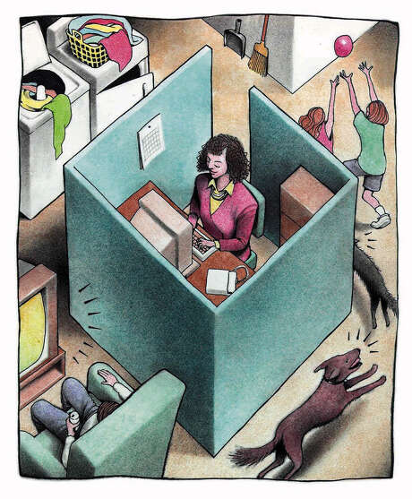 160 dpi 39p x 47p Doug Griswold color illustration of woman working in an office cubicle in her home while her kids play around her. San Jose Mercury News 1997  With TELECOMMUTE, Knight-Ridder  FOR AT-RISK READERS   CATEGORY: ILLUSTRATION SUBJECT: TELECOMMUTE illus ARTIST: Doug Griswold ORIGIN: San Jose Mercury News TYPE: EPS JPEG SIZE: As needed ENTERED: 6/10/97 STORY SLUG: TELECOMMUTE, Knight-Ridder FOR AT-RISK READERS   illustration, feature, features, business, telecommuting, telecommuter, telecommute, risk, women, office, work, youth, kid, kids, technology, computer, employe, employee, home, SJ, griswold, 1997