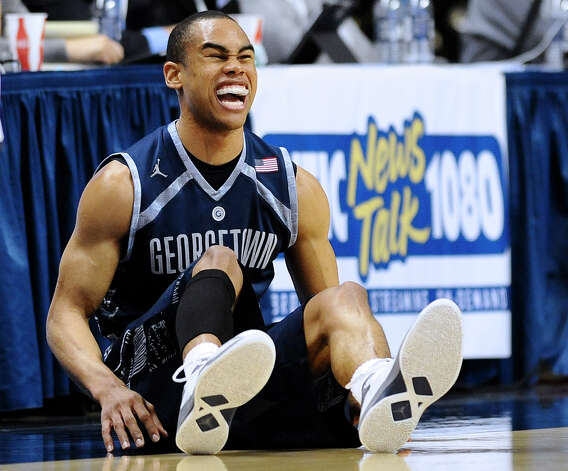 Georgetown's Markel Starks reacts during the second half of an NCAA college basketball game against Connecticut in Storrs, Conn., Wednesday, Feb. 27, 2013. Georgetown won 79-78. (AP Photo/Jessica Hill) Photo: Jessica Hill, Associated Press / FR125654 AP