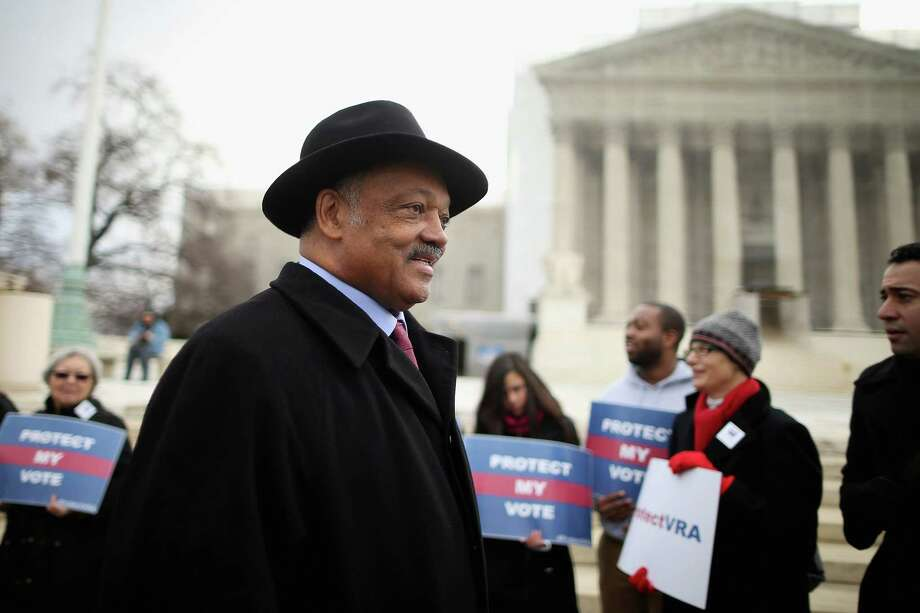 WASHINGTON, DC - FEBRUARY 27:  Rev. Jesse Jackson arrives for a rally on the steps of the U.S. Supreme Court February 27, 2013 in Washington, DC. Leaders from Congress joined civil rights icons to rally as the court prepared to hear oral arguments in Shelby County v. Holder, a legal challenge to Section 5 of the Voting Rights Act.  (Photo by Chip Somodevilla/Getty Images) Photo: Chip Somodevilla