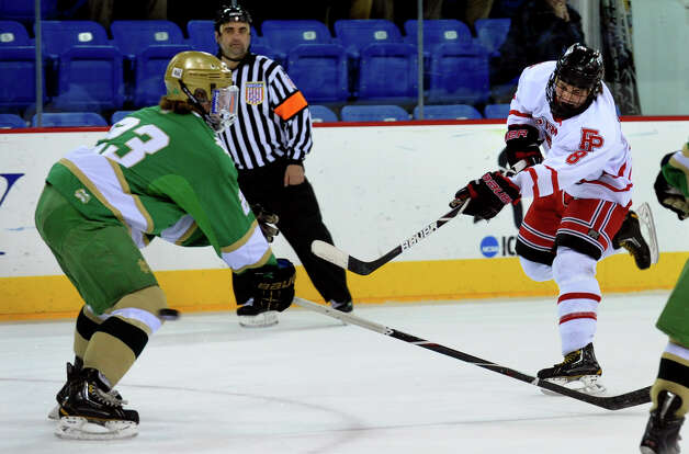 Fairfield Prep's #8 David White, during SCC boys hockey playoff championship action against Notre Dame of West Haven at High Point Solutions Arena at Quinnipiac University in Hamden, Conn. on Wednesday February 27, 2013. Photo: Christian Abraham / Connecticut Post