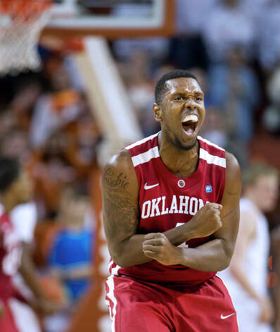 Oklahoma's Andrew Fitgerald (4) celebrates a basket against Texas during an NCAA college basketball game on Wednesday, Feb. 27, 2013, in Austin, Texas. Photo: Laura Skelding, Statesman.com / Austin American-Statesman