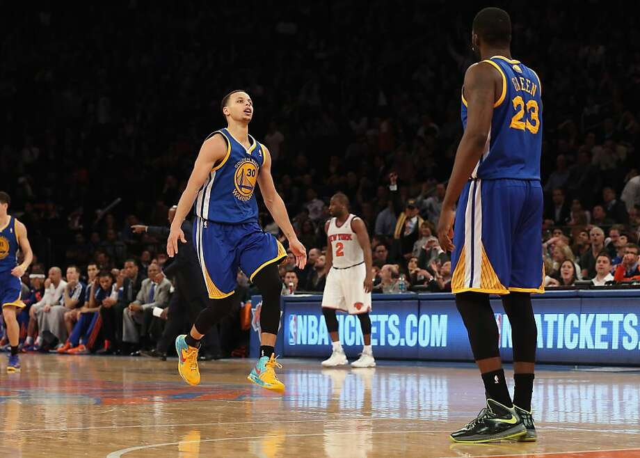 NEW YORK, NY - FEBRUARY 27:  Stephen Curry #30 of the Golden State Warriors scores a three pointer with 4:41 remaining against the New York Knicks at Madison Square Garden on February 27, 2013 in New York City. NOTE TO USER: User expressly acknowledges and agrees that, by downloading and/or using this photograph, user is consenting to the terms and conditions of the Getty Images License Agreement. The Knicks defeated the Warriors 109-105 as Curry finished with 56 points on the night.  (Photo by Bruce Bennett/Getty Images) Photo: Bruce Bennett, Getty Images