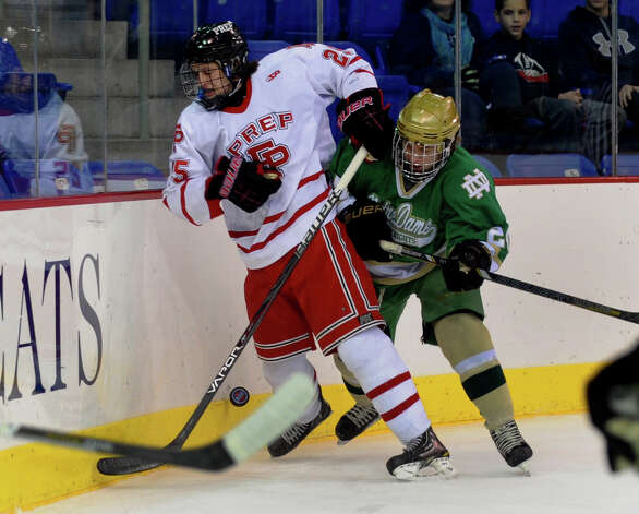 Fairfield Prep's #25 Mike Ventricelli, during SCC boys hockey playoff championship action against Notre Dame of West Haven at High Point Solutions Arena at Quinnipiac University in Hamden, Conn. on Wednesday February 27, 2013. Photo: Christian Abraham / Connecticut Post