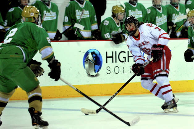Fairfield Prep's #7 Billy D'Amore, during SCC boys hockey playoff championship action against Notre Dame of West Haven at High Point Solutions Arena at Quinnipiac University in Hamden, Conn. on Wednesday February 27, 2013. Photo: Christian Abraham / Connecticut Post