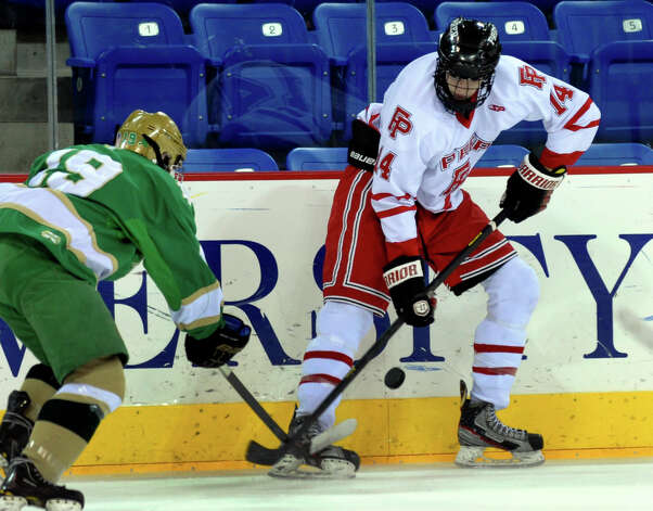 Fairfield Prep's #14 Aidan Rush, during SCC boys hockey playoff championship action against Notre Dame of West Haven at High Point Solutions Arena at Quinnipiac University in Hamden, Conn. on Wednesday February 27, 2013. Photo: Christian Abraham / Connecticut Post