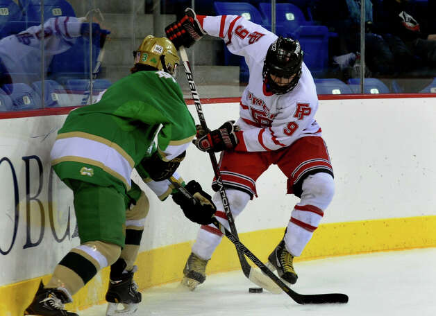 Fairfield Prep's #9 Nick Bargiello, during SCC boys hockey playoff championship action against Notre Dame of West Haven at High Point Solutions Arena at Quinnipiac University in Hamden, Conn. on Wednesday February 27, 2013. Photo: Christian Abraham / Connecticut Post