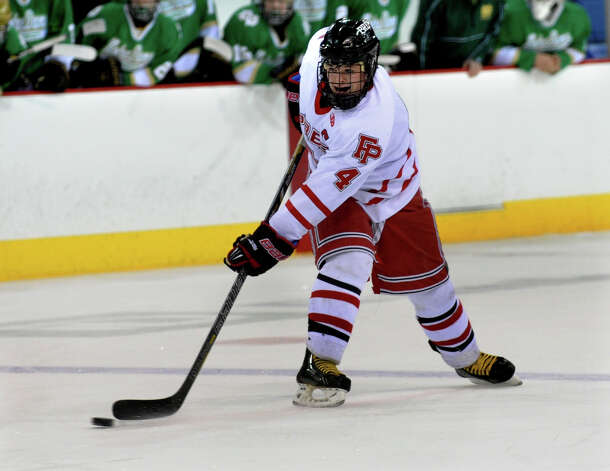 Fairfield Prep's #4 Sean Henry, during SCC boys hockey playoff championship action against Notre Dame of West Haven at High Point Solutions Arena at Quinnipiac University in Hamden, Conn. on Wednesday February 27, 2013. Photo: Christian Abraham / Connecticut Post