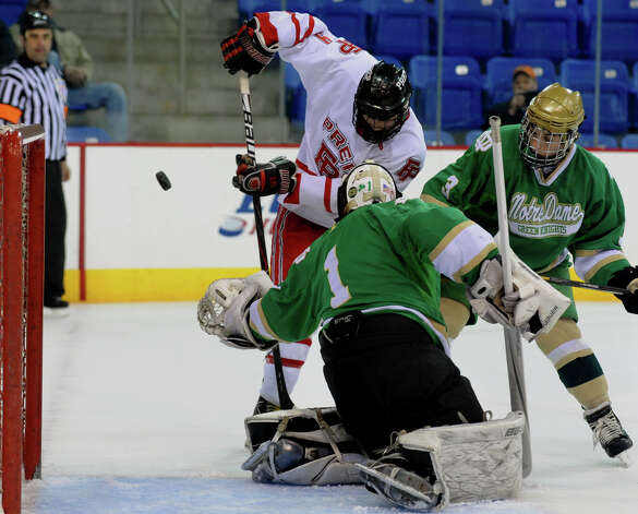 Fairfield Prep's #9 Nick Bargiello attempts a shot, during SCC boys hockey playoff championship action against Notre Dame of West Haven at High Point Solutions Arena at Quinnipiac University in Hamden, Conn. on Wednesday February 27, 2013. Photo: Christian Abraham / Connecticut Post
