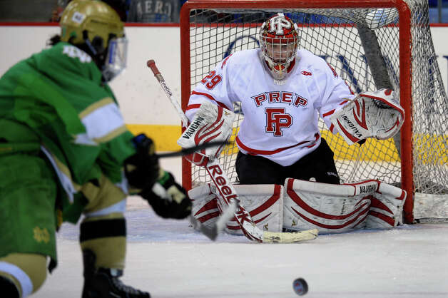 Fairfield Prep goalie Matt Beck prepares for a shot attempt by Notre Dame of West Haven, during SCC boys hockey playoff championship action at High Point Solutions Arena at Quinnipiac University in Hamden, Conn. on Wednesday February 27, 2013. Photo: Christian Abraham / Connecticut Post