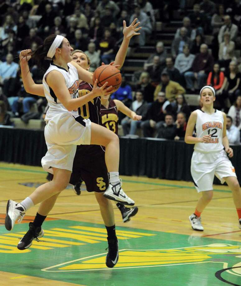 Bethlehem's Kaylee Rickert  goes in for a score during their Section II Class AA girl's basketball semifinal game against Colonie on Wednesday Feb. 27, 2013 in Troy, N.Y. (Michael P. Farrell/Times Union) Photo: Michael P. Farrell