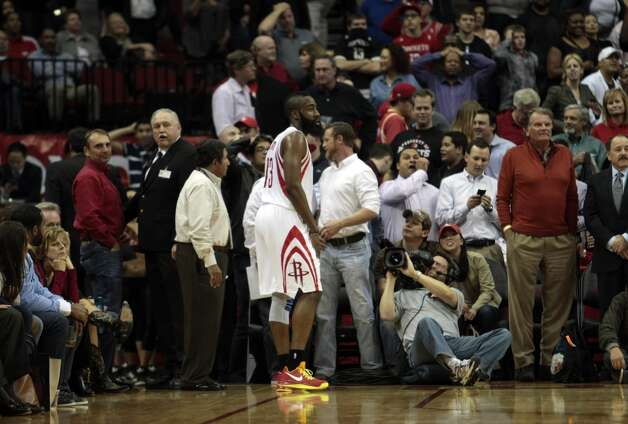 Rockets guard James Harden limps off the court after Bucks guard Monta Ellis hit a game winning three.